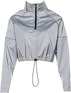 Haoohu Womens Casual Reflective Long Sleeve Draw Cord Waist Ruched Short Jacket Windproof Coat