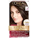 L'Oreal Paris Excellence Creme Permanent Hair Color, 4 Dark Brown, 100 percent Gray Coverage Hair Dye, Pack of 1
