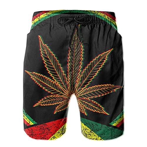 HARLEY BURTON Pantalones cortos de natación psicodélicos para hombre, diseño de neón de marihuana de secado rápido, pantalones cortos de tabla de surf y playa con cordón ajustable