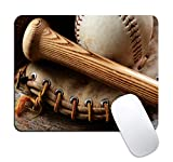 Dynippy Mouse Pad Superfine Fiber Braided Material Gaming Mouse Pads Non-Slip Rubber Base Mousepad Square Mouse Mat for Desktops Computer Laptops (Baseball)