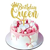 Palksky Queen Birthday Cake Topper Acrylic Durable Gold Glitter Queen Cake Decorations for Girl...