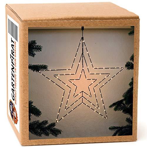 Fenster-Stern 57x61 cm Metall/Draht schwarz 114 LED beleuchtet zum Aufhängen Weihnachten Strom