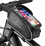 Bike Front Frame Bags, FISHOAKY Waterproof Bicycle Phone Mount Bag, Sensitive Touch Screen
