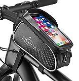 FISHOAKY Borsa Telaio Bici, Impermeabile Borsa da Manubrio per Biciclette, Touch Scree Porta Telefono MTB Borsa Porta Cellulare Bici Borse Biciclette per iPhone XS/X/Samsung S9/S8 Fino a 6,5'