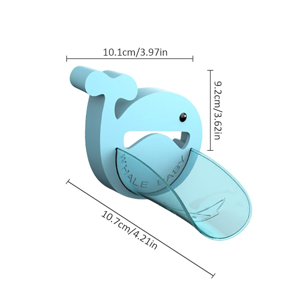 Faucet Handle Extender Set Cartoon Whale Extend Sink Handle &Faucet Spout for Toddlers Kids Hand-Washing Solution Promote Independence-Blue, Spout Extender Only