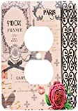 Duplex Receptacle Outlet Wallplate 1 Gang Outlet Covers Stylish Vintage Pink Paris Collage Art Eiffel Tower Red Rose Girly Gothic Black Bow and Swirls Classic Beadboard Decorator Unbreakable Faceplate