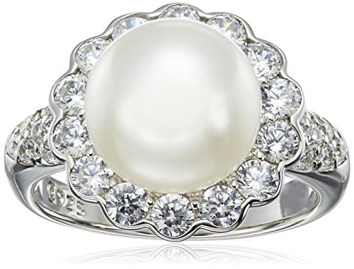 Platinum Plated Flower Pearl Ring by Amazon Collection