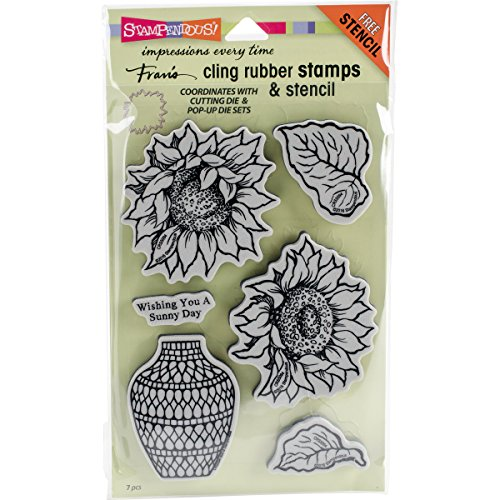 Stampendous Cling Rubber Stamp Set, Sunny Vase W/Template