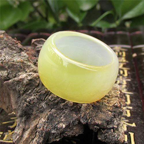 ShAwng Modelos Masculinos y Femeninos Anillo de Dedo de ágata Amarillo Imperial Imperial de Jade ensanchado Productos de corrección de tracción de Anillo de Jade engrosados, 10