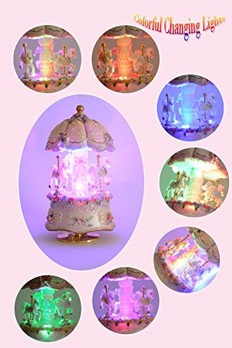 ACCOCO Carousel Music Box Luxury Color Change LED Light Luminous Rotating 3-Horse Carousel Horse Music Box Melody… 5