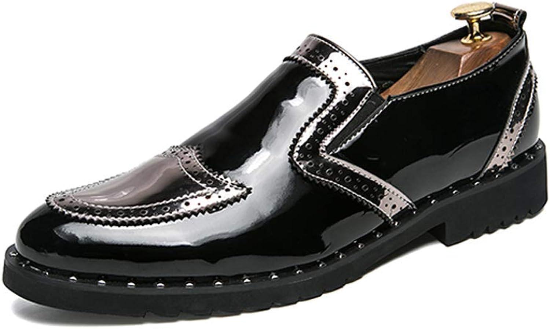 Herren Business Oxford Casual Persnlichkeit Stilvolle Nhte Dickes Lackleder Brogue Schuhe Abriebfest (Farbe   Silber, Gre   5.5 UK)