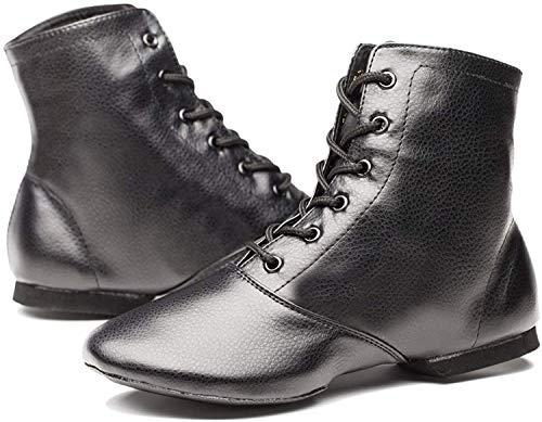 Joocare Men's Black Leather Split Sole Jazz Dance Boots Shoes (10, Black)
