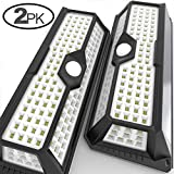 MagicPro Solar Lights Motion Sensor Solar Powered Light - 136 LED Outdoor Security Lighting for Porch, Garden, Driveway, Energy Saving, Durable and Waterproof White Light 2PK