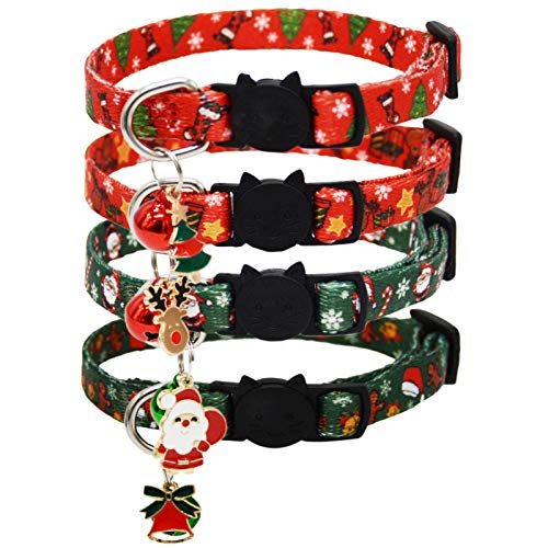 Barleygoo 4 Pack Christmas Cat Collar with Bell and Pendant Breakaway Adjustable Safety Collars Xmas Design Red and Green