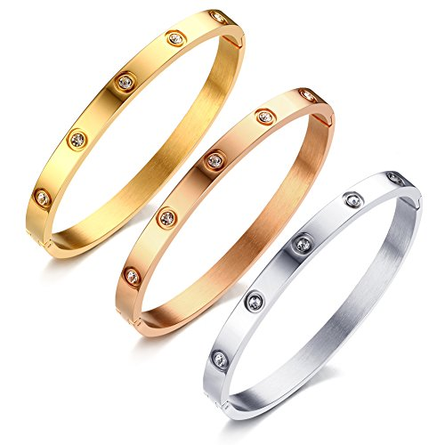 VNOX 6mm Women's Bangle Stainless Steel CZ Crystal Band Cuff Bangle Bracelet Rose Gold,60 mm Diameter,Pack of 3