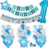 SPECOOL Decoración de cumpleaños de 1er cumpleaños,con Pancarta de Fotos para bebés de 1 a 12 Meses, Azul Pancarta de Feliz cumpleaños, Globos de látex y Confeti,para Suministros para Fiestas