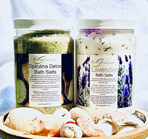 Spirulina Detox & Lavender Bath Salts Relaxation Gift Set: (2) 32 oz. Jars with Jute Tote Bag w/Handles - Ideal for Sore Muscles, Detox, Relax, Stress Reliever