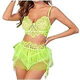 Completo intimo da donna con motivo floreale in rete, collant sexy verde L