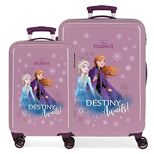 Disney Frozen La Reine des Neiges Destiny awaits Set de Bagages Pourpre 55/64 cms Rigide ABS Serrure à combinaison 93L 4 roues doubles Bagage à main