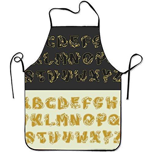 zhengshaolongG Unisex Delantals Gold Alphabet Set Kitchen Delantal with Adjustable Strap for Cooking Gardening