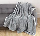 Elegant Comfort Luxury Ultra-Plush Velvet Touch Fleece Throw Soft, Warm, Cozy| Micromink Sherpa-Backing Reversible Blanket for Bed, Sofa and Couch, Solid Silver Grey