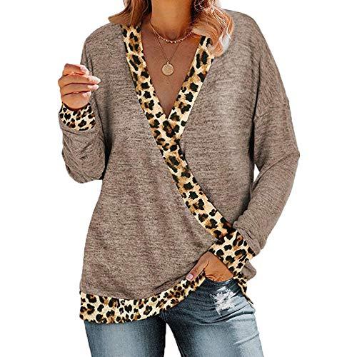 Herbst Und Winter Frauen Lose V-Ausschnitt Leopardenmuster Farbe Passend Zu LangäRmeligen T-Shirt Frauen