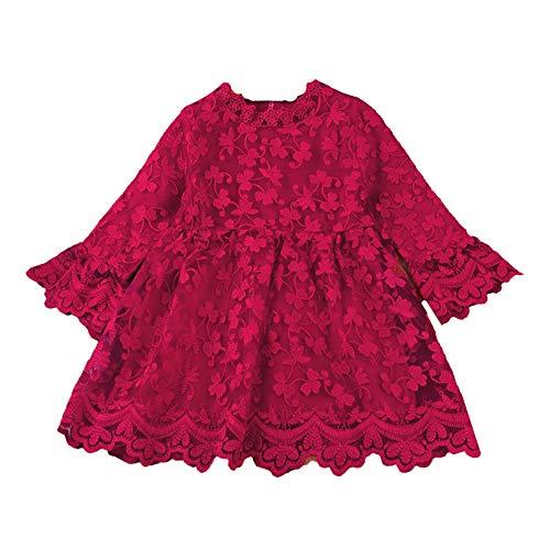 WangsCanis Abito da Bambina Neonata a Maniche Lunghe alla Moda per Principessa con Ricamo a Farfalla Tinta Unita (Rosso, 90)