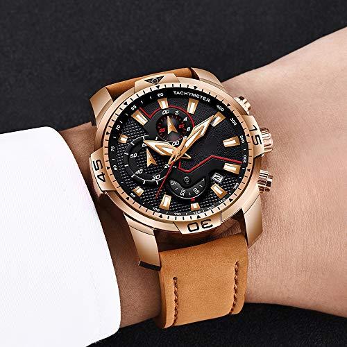 Voigoo Männer Sport-Uhr-Mann-analoge Quarz-Uhren Wasserdicht Datum Militärs Multifunktions Armbanduhr Männer Uhr + Box
