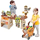 Kids Supermarket Stall Toy, Shopping Day Grocery Cart, Shopping Grocery Play Store with Toy Shopping Cart and Pretend Play Food Items, Realistic Kitchen Accessories for Kids Ages 3 and Up (37x31.5in)