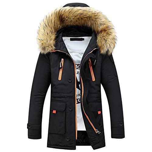 BOZEVON Hommes Hiver Blouson À Capuche Col De Fourrure Chaud Hoodies Manteau Pardessus Veste d'hiver Outwear, Noir
