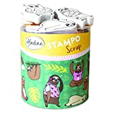 Aladine - Stampo Scrap - Kit de Tampons pour Carterie Créative - Scrap, DIY, loisirs créatifs - Set de tampons à emporter partout + Encreur Noir Inclus (PARESSEUX)