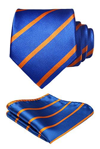 HISDERN herren Herren Krawatte Gestreifte Hochzeit Krawatte & Einstecktuch Set Orange und Blau
