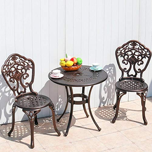 Cast Aluminium Bistro Table and Chairs Outdoor Garden & Patio Bistro Set Round Garden Table Furniture Sets Needs Assembly(1Pcs Table & 2Pcs Chairs)