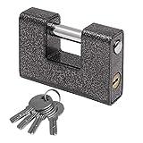 頑丈な南京錠 1KG パッドロック 4つの鍵付き Kurtzy社製 –強化された頑丈なスチール工業用プロテクターハードウェアロック 屋外用–ガレージドア コンテナー 物置 ロッカーや倉庫用