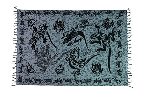 Ciffre Sarong Pareo Wickelrock Lunghi Dhoti Tuch Strandtuch Tribal Gecko Grau Schal + Schnalle