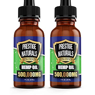 2 Pack Hemp Oil (500,000mg Each) for Stress, Pain, Anxiety, Sleep Support, Organic by Prestige Naturals