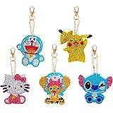 5D llaveros Diamante 5pcs Stitch DIY Pikachu Mujer Niña Llavero de Cristal Artificial Brillante Llavero de aleación Llavero Decoracion para Coche Mochila Billetera