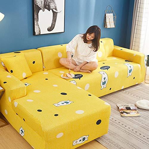 Funda para sofá con diseño Antideslizante Fundas de sofá en Forma de L Impresas de celosía Cuadrada de 2 plazas para Sala de Estar, Funda Protectora elástica Antipolvo para Esquina H