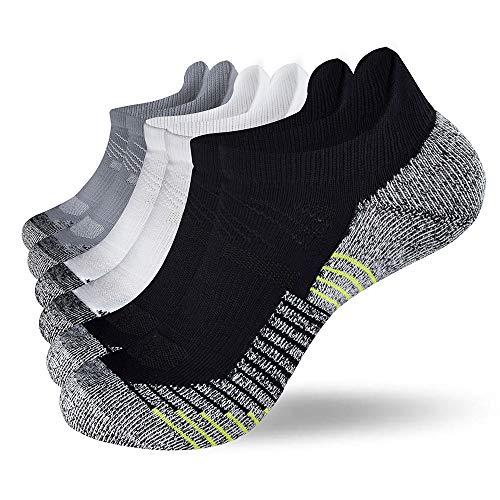 Fioboc Calcetines Deportivos 6 Pares para Hombres & Mujeres Calcetines de Tobillo Corte Bajo Deportivos Compresión Rendimiento Calcetines (Negro Blanco Gris, 35-38)