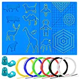 Palksky 3D Printing Pen Silicone Mat with Basic Design Template Accessories Tools Including 4 Finger Protectors Filament Refills 6 Colors for Beginner Kids and Adults Drawing