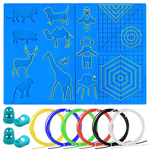 Palksky 3D Pen Mat, Large Multi Patterns Silicone Printing Pen Basic Template Pad with 4 Finger Protectors, 3D Pen Drawing Tools for 3D Beginners/Kids/Adults with Plastic Filament 6 Colors, 2m