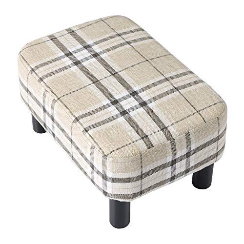 IBUYKE Poggiapiedi imbottito in legno Pouf Sgabello basso Sgabello divano in tessuto Piccolo soggiorno per la casa Camera da letto Sgabello rettangolare con sedile imbottito, colore a strisce RF-BD215