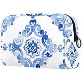 Bolsa de maquillaje de dibujos animados bolsa de cosméticos impresa artículos de tocador bolsas de viaje bolsas de cosméticos para mujeres azul sirena