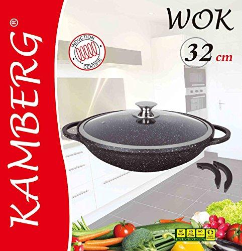 Kamberg - 0008046 - Wok 32 cm - Aluminio Fundido - Revestimiento Piedra antiadherente - Tapa de Vidrio - Todos los incendios, incluida la inducción - Sin PFOA