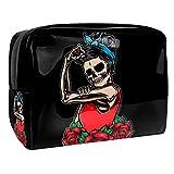 Neceser Maquillaje Portátil Rock and Roll Skull Woman Bolsa de Maquillaje Organizador de Maquillaje Bolso de Cosméticos de Viaje para niñas y Mujeres 18.5x7.5x13cm