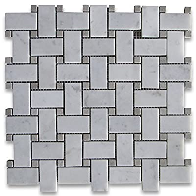 Carrara White Italian Carrera Marble Basketweave Mosaic Tile Gray Dots 1 x 2 Polished by Stone Center Online