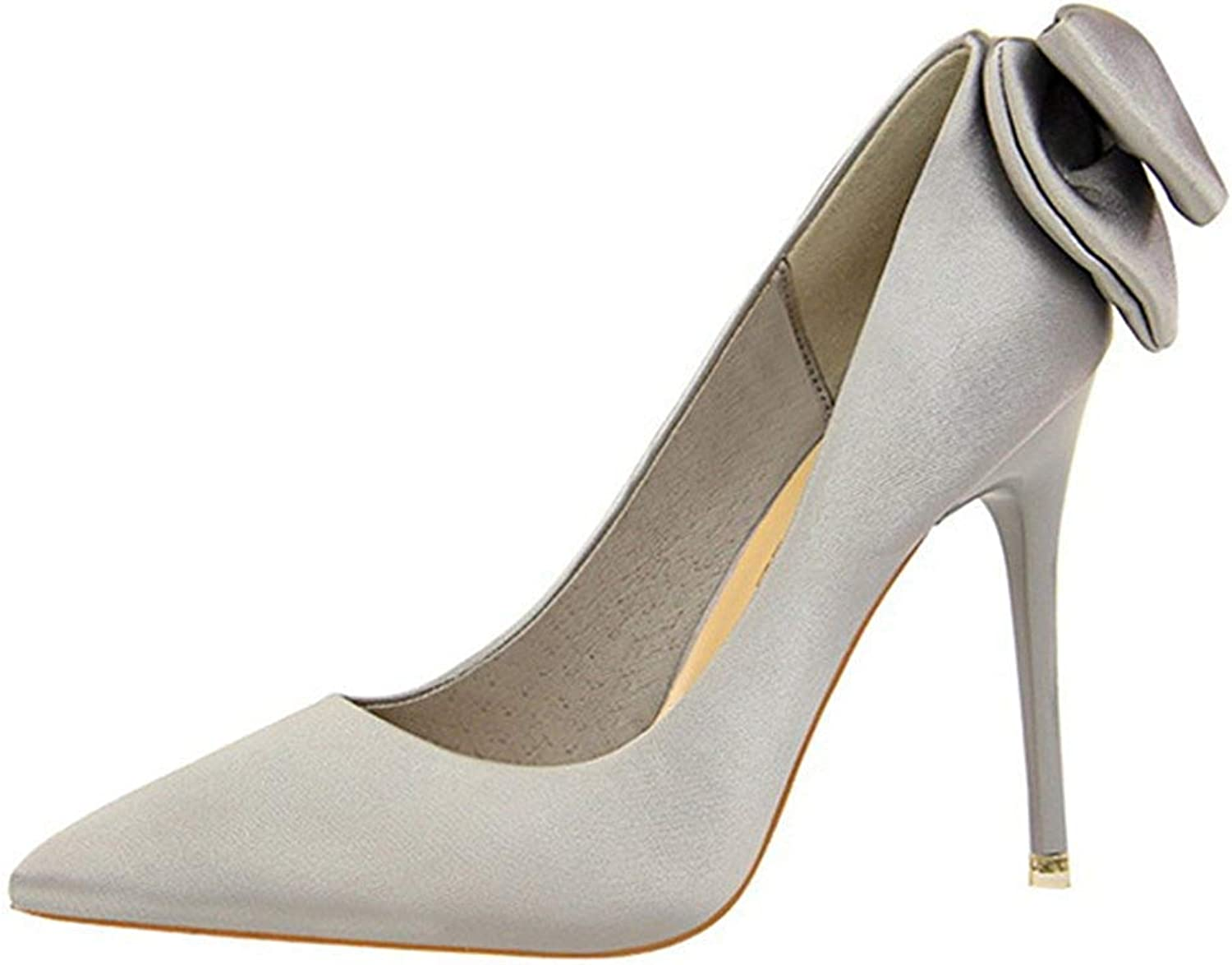 Unm Women's Elegant Dressy Low Cut Stiletto High Heel Pointed Toe Party Bridal Slip On Pumps shoes with Bow