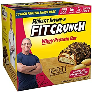 FITCRUNCH Snack Size Protein Bars | Designed by Robert Irvine | World's Only 6-Layer Baked Bar | Just 3g of Sugar & Soft Cake Core (18 Count)