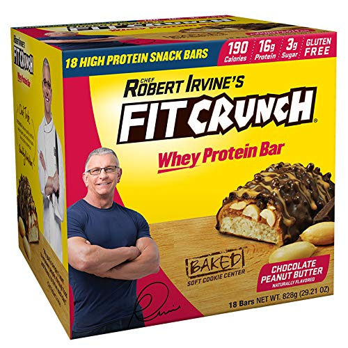 FITCRUNCH Snack Size Protein Bars | Designed by Robert Irvine | World's Only 6-Layer Baked Bar | Just 3g of Sugar & Soft Cake Core (18 Count) (Best Looking Bars In The World)