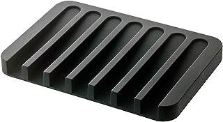 YAMAZAKI home 7398 Flow Soap Tray-Silicone Holder Dish for Sink, Black